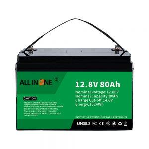 Meest populaire lood-zuur vervangende zonne-RV Marine LiFePO4 12V 80Ah lithiumbatterij