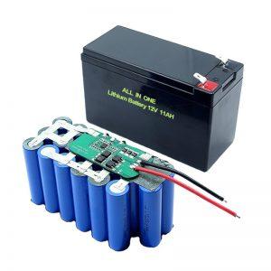 ALLES IN ÉÉN 18650 3S5P 12Volt lithiumbatterij 11Ah oplaadbare lithiumbatterij