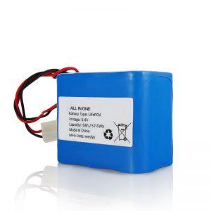 6.4V 12Ah LiFePO4 Oplaad lithium 26650 32650 batterijpakket met connector voor zonne-energie